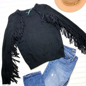 LAUREN RALPH LAUREN black fringe sleeve sweater